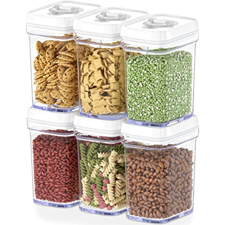 DWËLLZA KITCHEN Airtight Food Storage Containers with Lids Airtight – 6 Piece Set - Air Tight Kitchen Containers Pantry Organization and Storage - Clear Plastic BPA-Free - Keeps Food Fresh & Dry