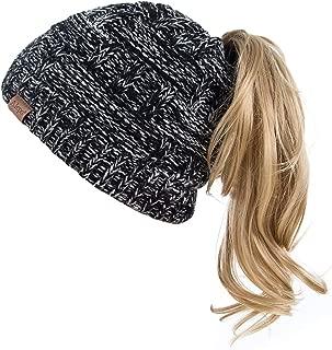Womens High Messy Bun Beanie Hat with Ponytail Hole, Winter Warm Trendy Knit Ski Skull Cap