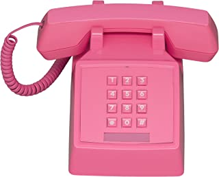 Wild Wood 2500 Classic Retro 1980s Style Corded Landline Phone with Push Buttons, Flamingo Pink