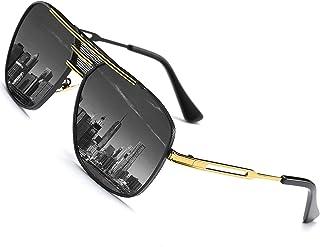 SHEEN KELLY Gli uomini di Grande cornice di Piazza polarizzante Vintage pilota gli occhiali da Sole di Metallo Argento Marrone Nero