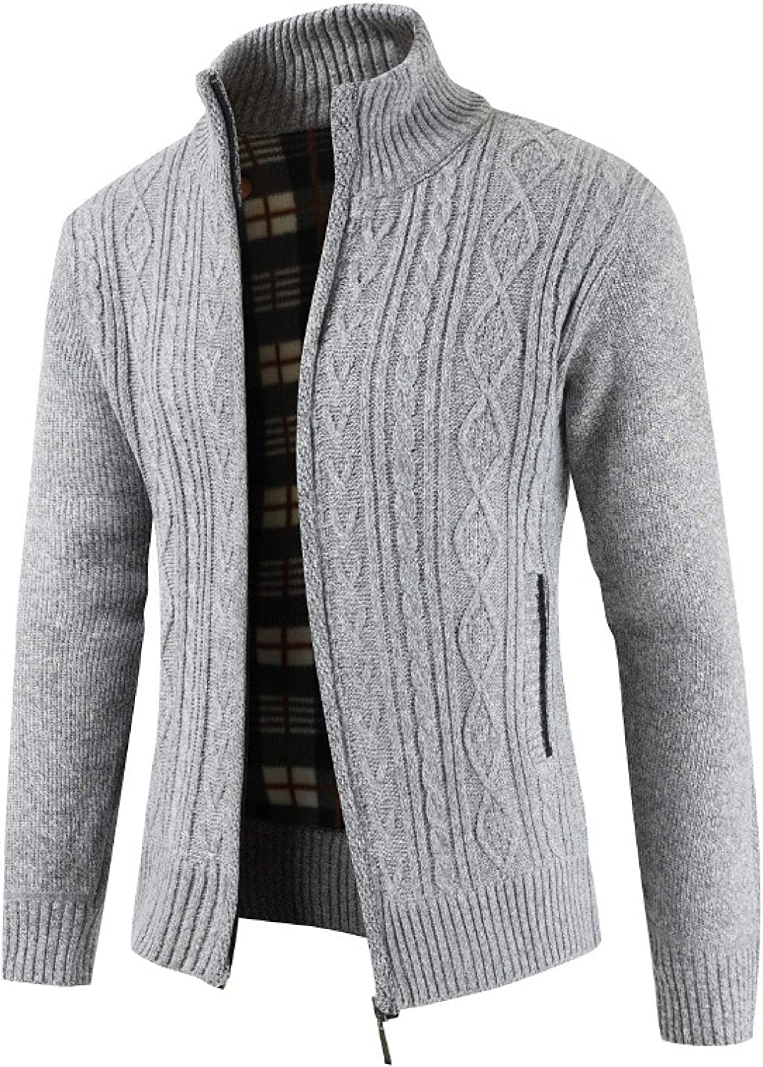 Men's Solid Color Cardigan Sweater, Zipper Stand Collar Sweater, Long-Sleeved
