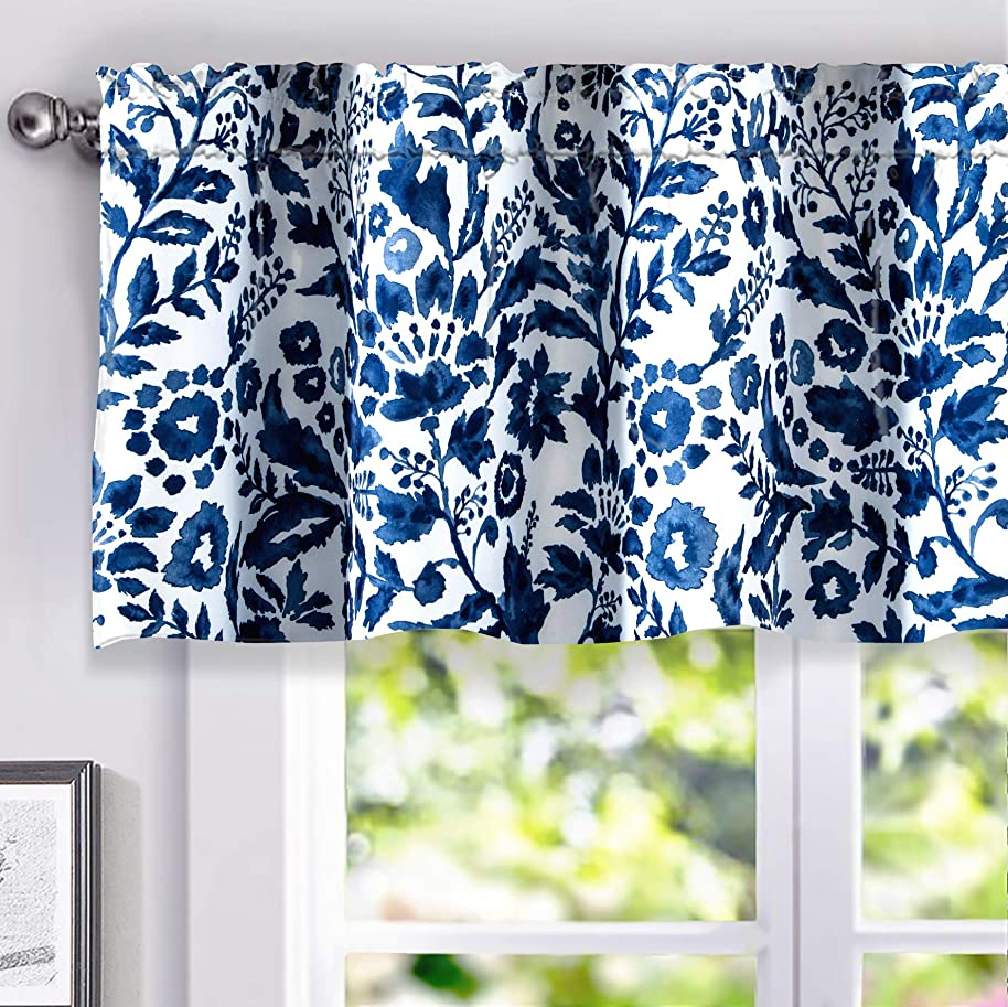 DriftAway Julia Watercolor Blooming Flower/Floral Lined Thermal Insulated Energy Saving Window Curtain Valance for Living Room/Bedroom/Kitchen, 2 Layer, Rod Pocket, 52