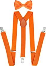 """Jiaqee Suspenders Bowtie Set X-back Suspender For Men with Bow Tie Elastic 1"""" Wide Band"""