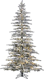 7.5' LED FLOCKED BAVARIAN PINE, 3 Times More Lights (1,660 Total), Clear AND Multi Color with 8 Themes, Remote, Pre-Lit Artificial White Christmas Tree, No Plugs as Power is in the Pole, Storage Bag