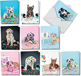 Dirty Dogs - 20 Puppy All Occasion Blank Cards with Envelopes (4 x 5.12 Inch) - Naughty Paint Covered Pet Dog Photos - Boxed Set of Assorted Note Cards for Kids (10 Designs, 2 Each) AM7217OCB-B2x10
