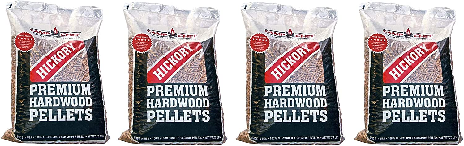 Camp Chef Smoker Grill Premium Hickory BBQ Hardwood Pellets, 20 lbs (4 Pack)