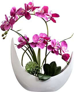 Fudostar Artificial Silk Flowers Potting in White Ceramic Crescent Vase, Natural Looking Phalaenopsis Flowers and Greens, Handmade Flower Arrangement (Pink)