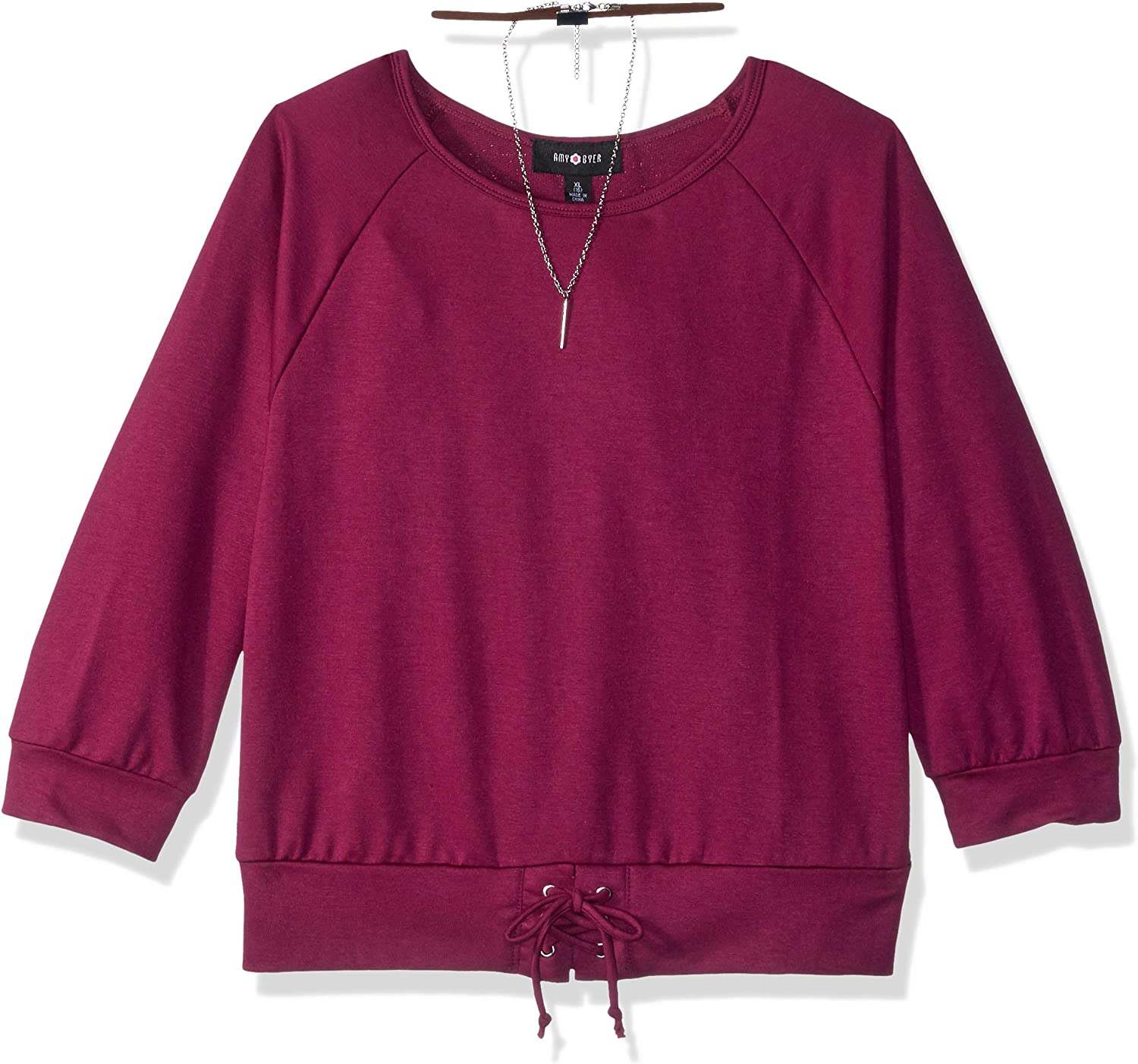 Amy Byer Special Free shipping on posting reviews sale item Girls' Big Raglan Banded Laced-up Top with Bottom