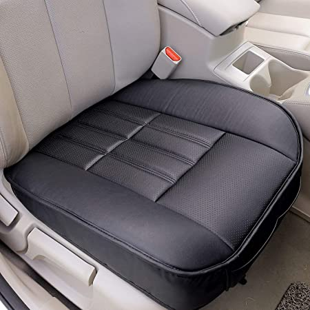 Ajing Classic Car Seat Cover Sets Front PU leather car front seat cover Universal Deluxe Car Seat Covers Cushion Padded 1PC(Beige)