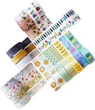 Washi Tape Set - 20 Rolls of Decorative Adhesive with Unique Colorful, Glitter, Floral, Foil Tape Designs - Journal Decora...