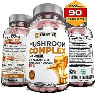 Vitology Labs Mushroom Supplement 2500mg Vitamin C – 90 Capsules - 7 Blend Organic Lions Mane, Cordyceps, Reishi, Chaga, Maitake, Shiitake & Turkey Tail | Immune System & Nootropic Brain Booster