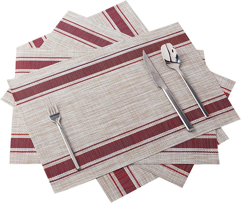 OKINDOLIFE Placemat PVC Placemats Heat Resistant Woven Vinyl Placemats Set Of 4 For Dining Table Non Slip Kitchen WashableTable Mats Red