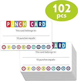102 PCS Punch Cards Incentive Loyalty Reward Card for Classroom Business (3.5