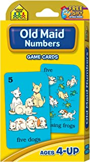 School Zone - Old Maid Numbers Game Cards - Ages 4+, Preschool, Kindergarten, 1st Grade, Card Game, Numbers 1-12, Animals, Counting, Matching, Pairing, Sets, and More