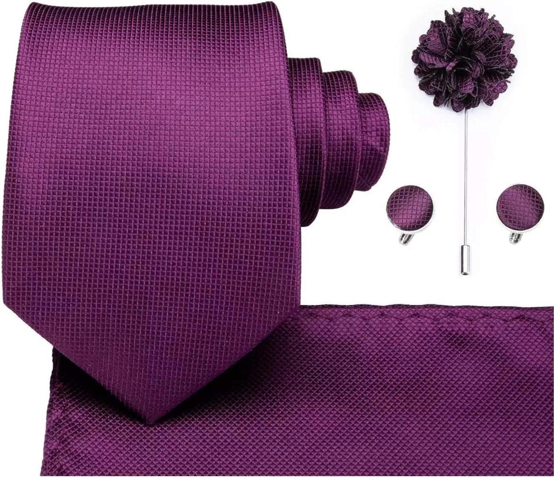 8.5cm Men Tie Solid Purple Neck Ties Set Boutonniere Pocketware Cufflink Gift Box for Wedding Party Formal Suit Cravat