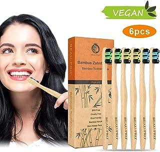 Cepillo Dientes Bambu Paquete de 6 Cepillos de Dientes de Bambú 100% Libre de BPA Cepillos de Dientes Naturales y Vegan...