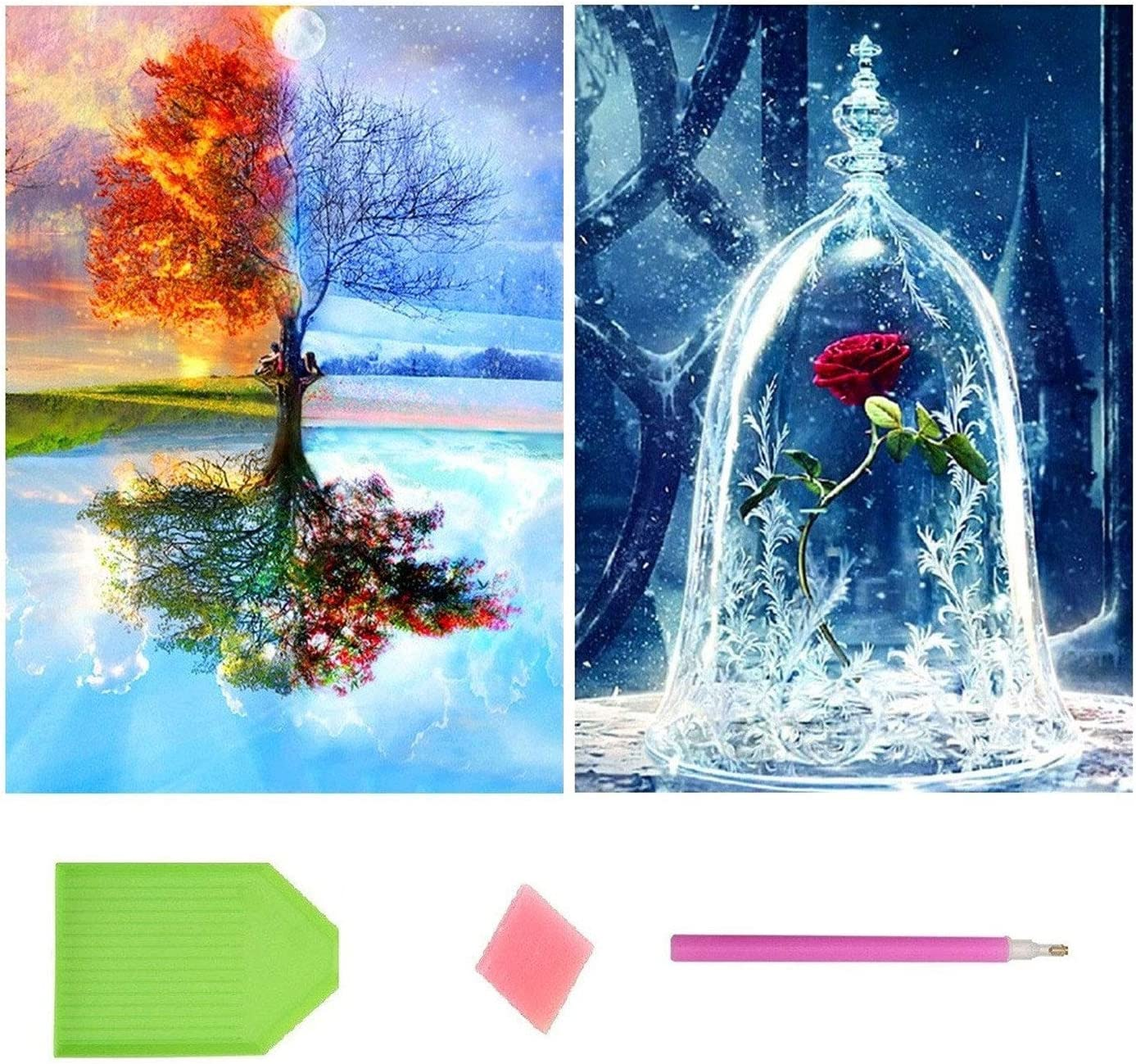 Topus 2 Pack 5D DIY Diamond Painting Full Drill Paint with Diamonds Four Seasons Tree & Rose for Home Wall Decor by Number Kits (12X16inch)