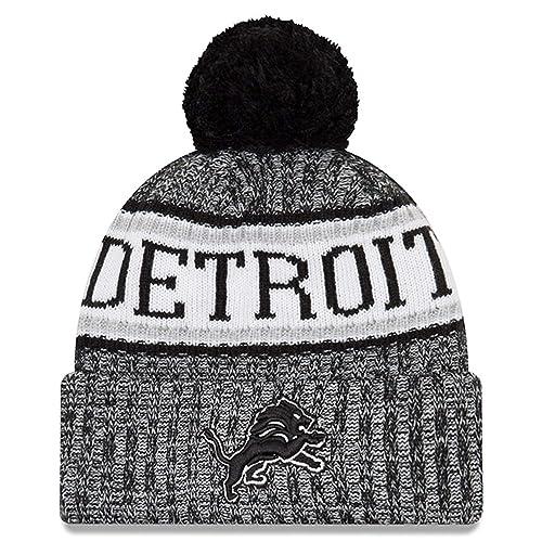 e0cfb62e99232 New Era Knit Detroit Lions Black On Field Sideline Winter Stocking Beanie  Pom Hat Cap 2015