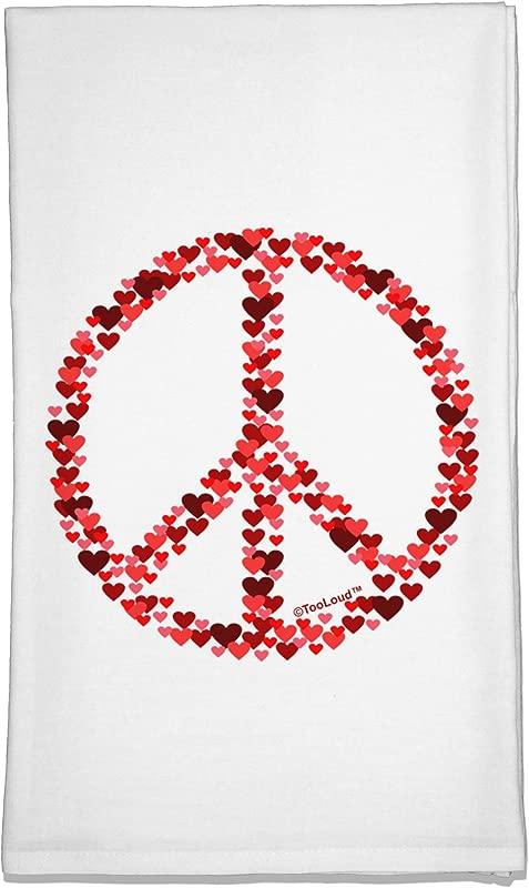TooLoud Peace Sign Hearts Red Flour Sack Dish Towel