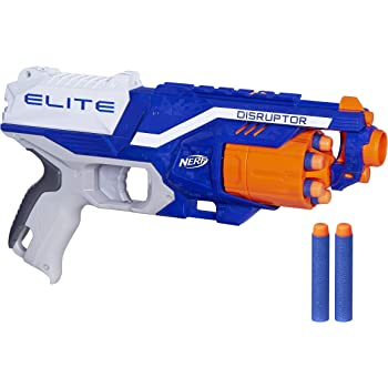 Nerf Disruptor Elite Blaster, 6-Dart Rotating Drum, Slam Fire, Includes 6 Official Nerf Elite Darts, For Kids Ages 8 and up