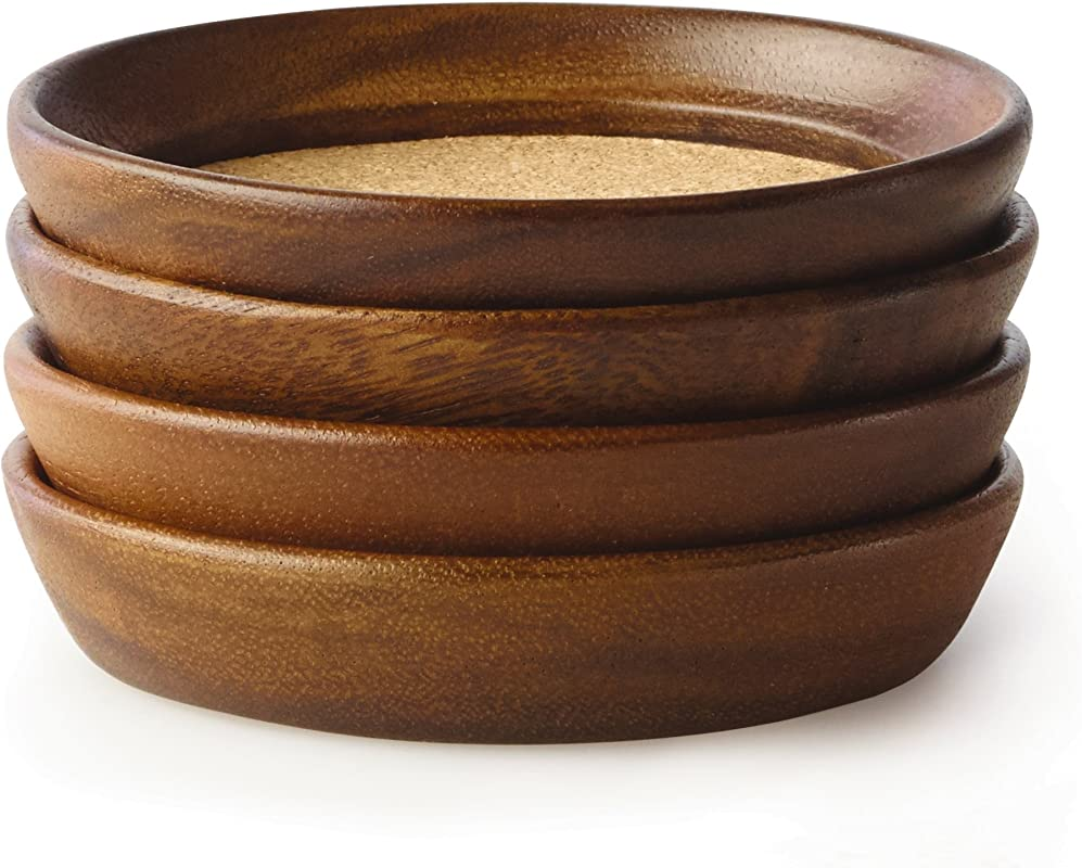 Kamenstein 5186008 4 Piece Set Natural Acacia Wood And Cork Stackable Coasters Set Of 4