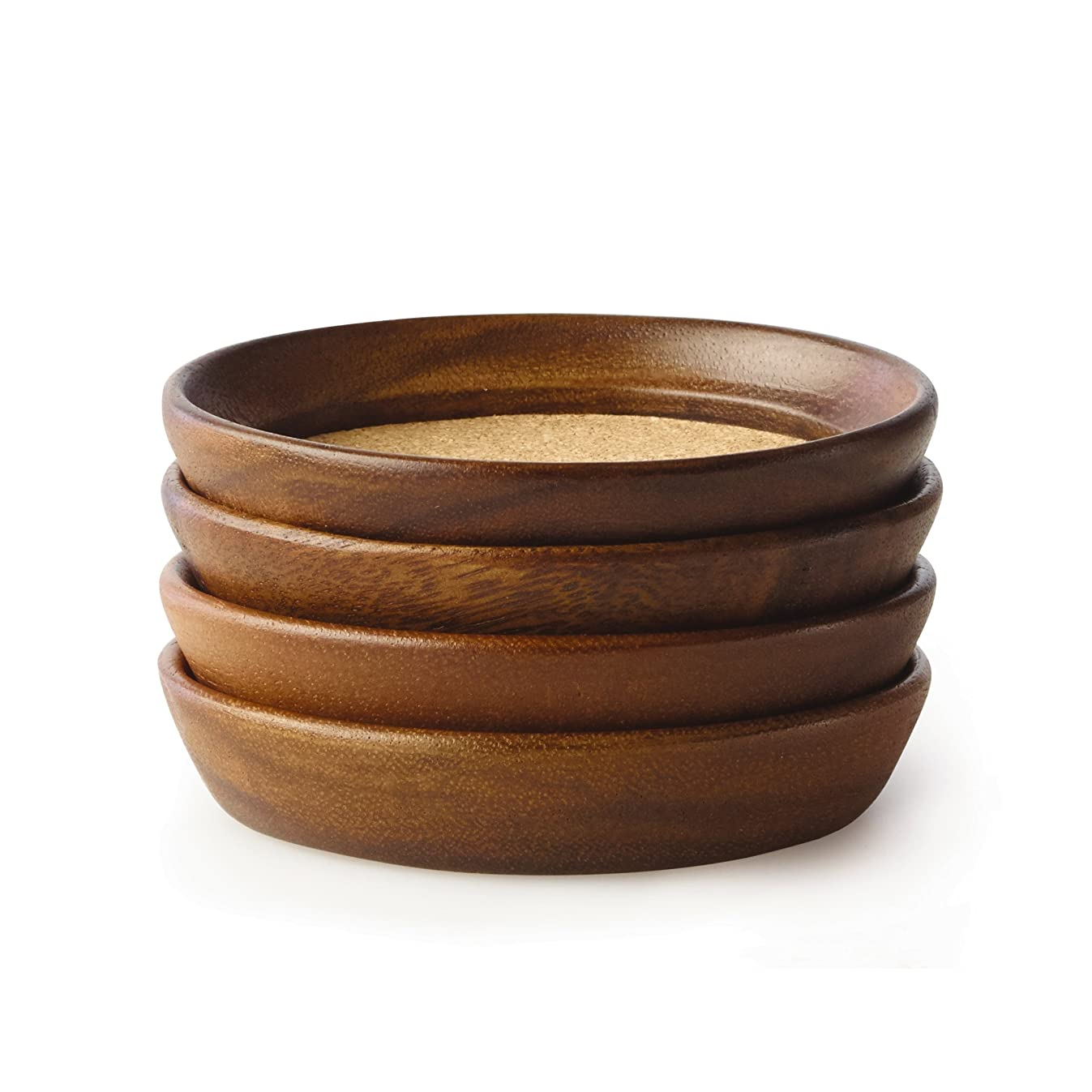 Kamenstein 5186008 4 Piece Set, Natural Acacia Wood and Cork Stackable Coasters, Set of 4,