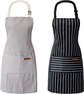 2 Pcs Cooking Kitchen Chef Aprons for Women and Men with Adjustable Neck Straps and Pockets - Unisex (1 Black Stripe, 1 Gr...