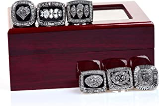 MT-Sports Oakland Raiders Sliver Championship Rings Full Set Replica Gift Collection Size 11 with Display Case