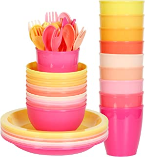 Youngever 54 pcs Plastic Kids Dinnerware Set of 9 in 9 Peach Colors, Toddler Dining Set, Cups, Kids Plates, Kids Bowls, Fl...