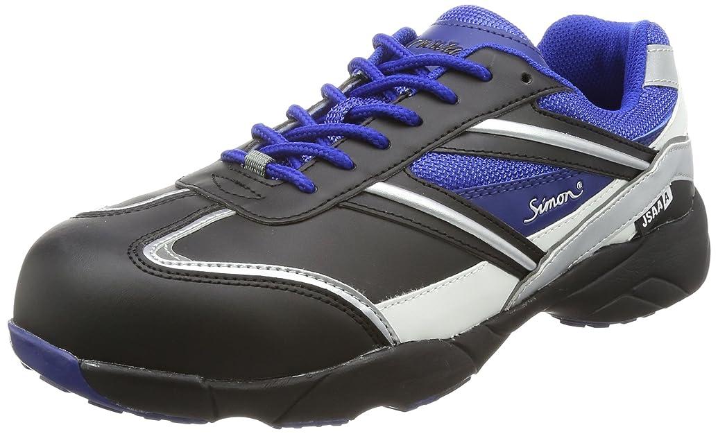 [シモン] プロスニーカー 短靴 JSAA規格 軽量 軽快 スニーカー 紐 KA211黒/ブルー