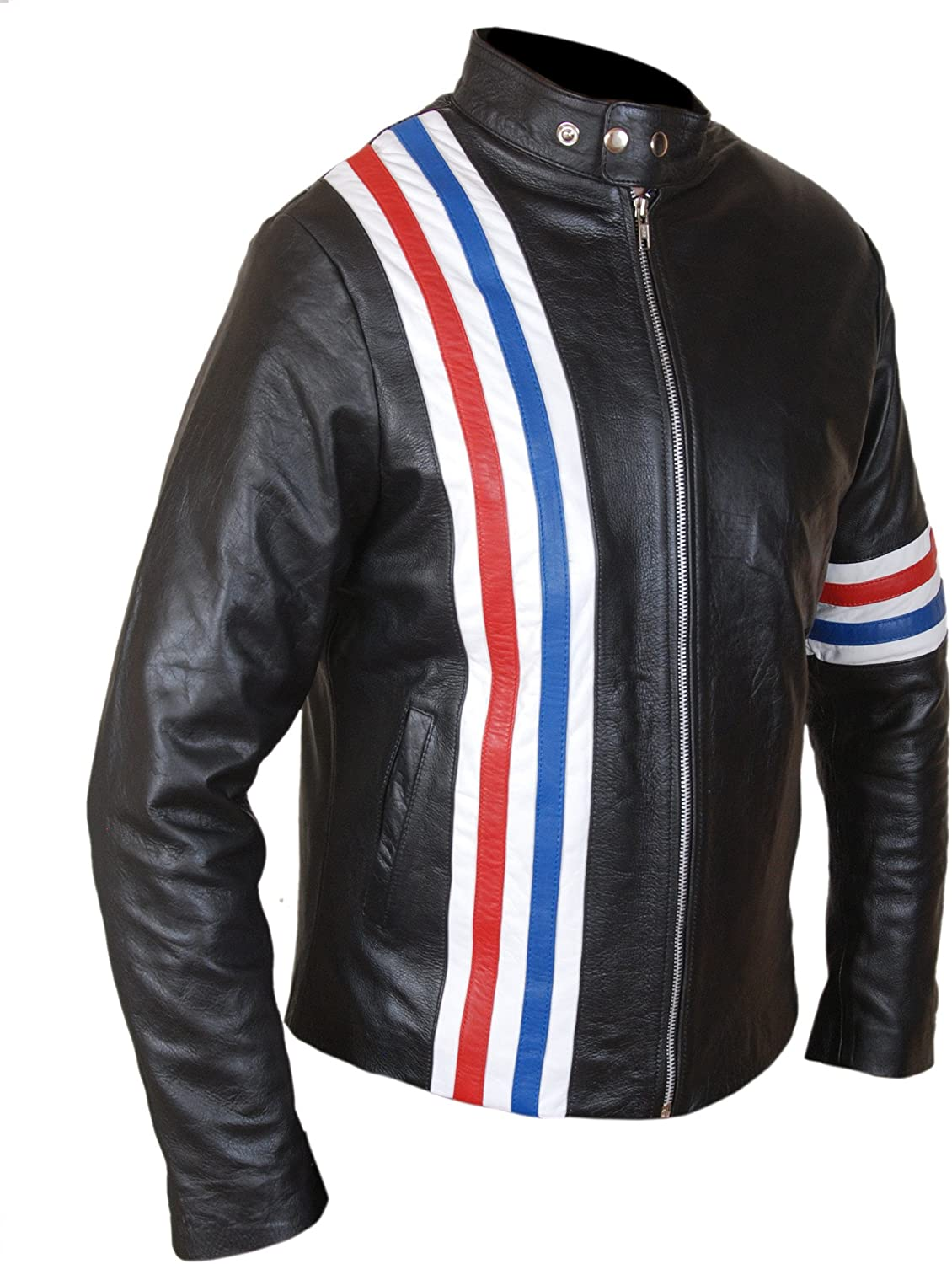 F&H Men's American Flag Easy Rider Genuine Leather Jacket