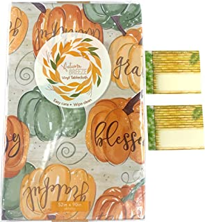"Fall Autumn Flannel Back Vinyl Tablecloth: Thankful Grateful Blessed Harvest Pumpkin Print, Orange Green on Beige (52"" x 9..."