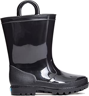 ZOOGS Kids Waterproof Rain Boots for Girls, Boys, and Toddlers Black