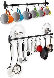 "Wallniture Lyon Steel Kitchen Rail with 10 Hooks Wall Mount Pot Pan and Utensil Holder Rack 32"" Frosty Black Set of 2"