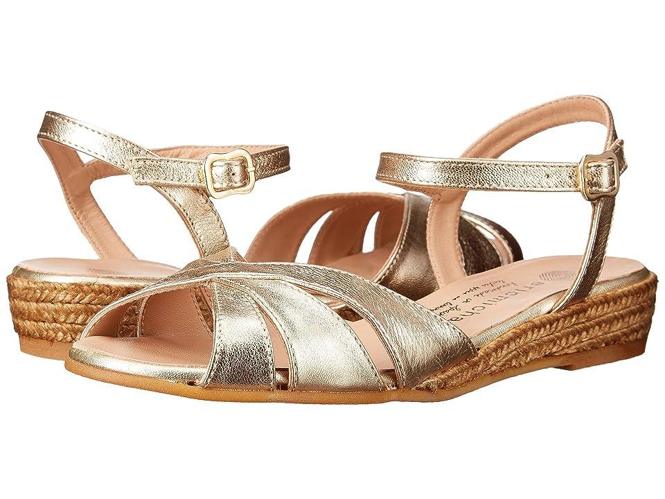 Vintage Sandal History: Retro 1920s to 1970s Sandals Eric Michael - Vanessa Gold Womens Shoes $119.95 AT vintagedancer.com