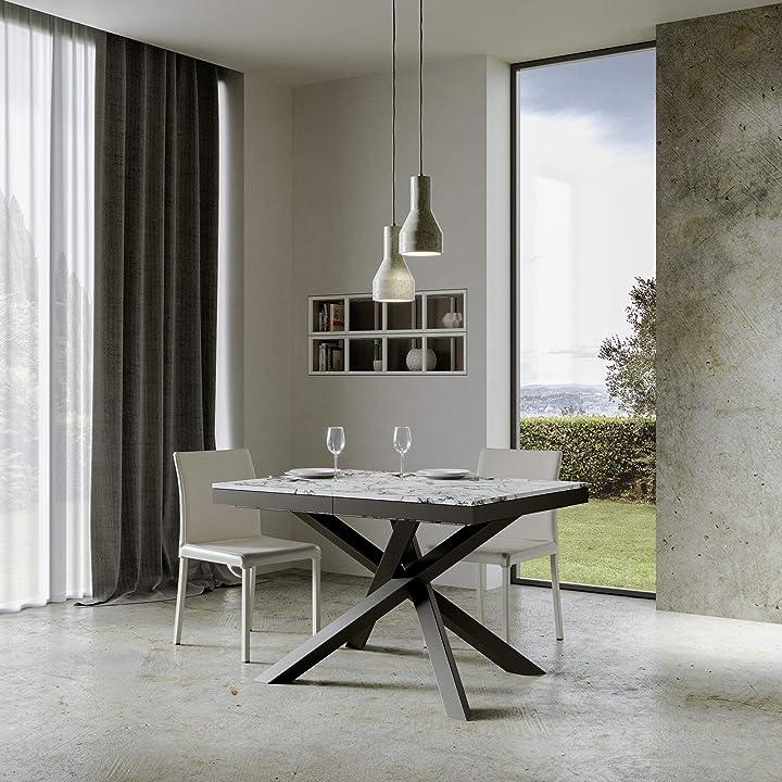 Tavolo volantis evolution itamoby 120x90 cm allungabile fino a 380 cm - telaio antracite e piano in marmo B07YX5ZZJ6