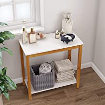 BAMEOS Bamboo Snack Table Sofa Console Table Side End Accent Table, 2-Tier Side Table with Storage Shelf, Modern Furniture for Living Room Bedroom Balcony Family and Office in White Color