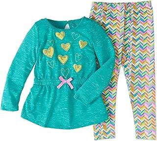 Cherokee Toddler Girls' Long Sleeve T-Shirt Dress and Chevron Leggings, Blue