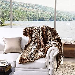 MarCielo Faux Fur Throw Blanket Leopard Bed Blanket 50