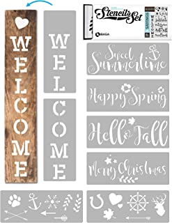 KIBAGA Reusable Stencils for Painting on Wood and More - Easy Paint Welcome Sign Stencil for Front Door, Porch or Outside Home Decor - Comes with Seasonal Bonus Stencils