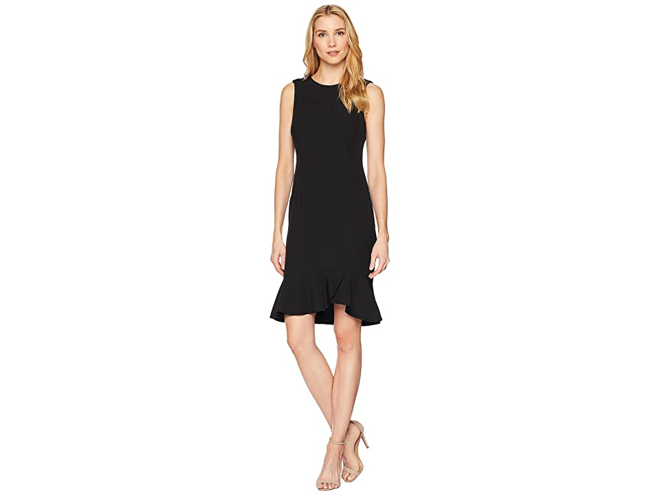 Calvin Klein Soft Crepe Ruffle Hem Dress (Black) Women
