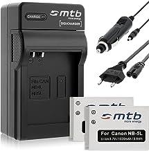 2 Baterías + Cargador para Canon NB-5L / Ixus 90 IS, 800 IS, 850.Powershot S100 S110. Ver Lista