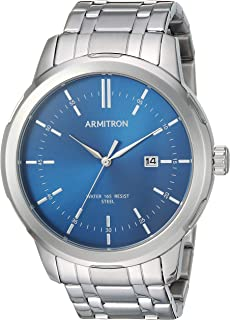 Armitron Men's 20/5245NVSV Date Function Silver-Tone Bracelet Watch