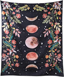 RLoncomix Moonlit Garden Tapestry Wall Hanging Moon Phase Surrounded by Plants and Flowers Black Background Star Tapestry Wall Hanging Blanket, 51 x 59 Inch