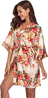 d4ff201a40 MASELEY Women s Floral Satin Kimono Short Style Bridesmaids Robes with  Pockets for Wedding Party