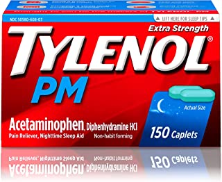 Tylenol PM Extra Strength Pain Reliever & Sleep Aid Caplets with 500 mg of Acetaminophen, 150 ct