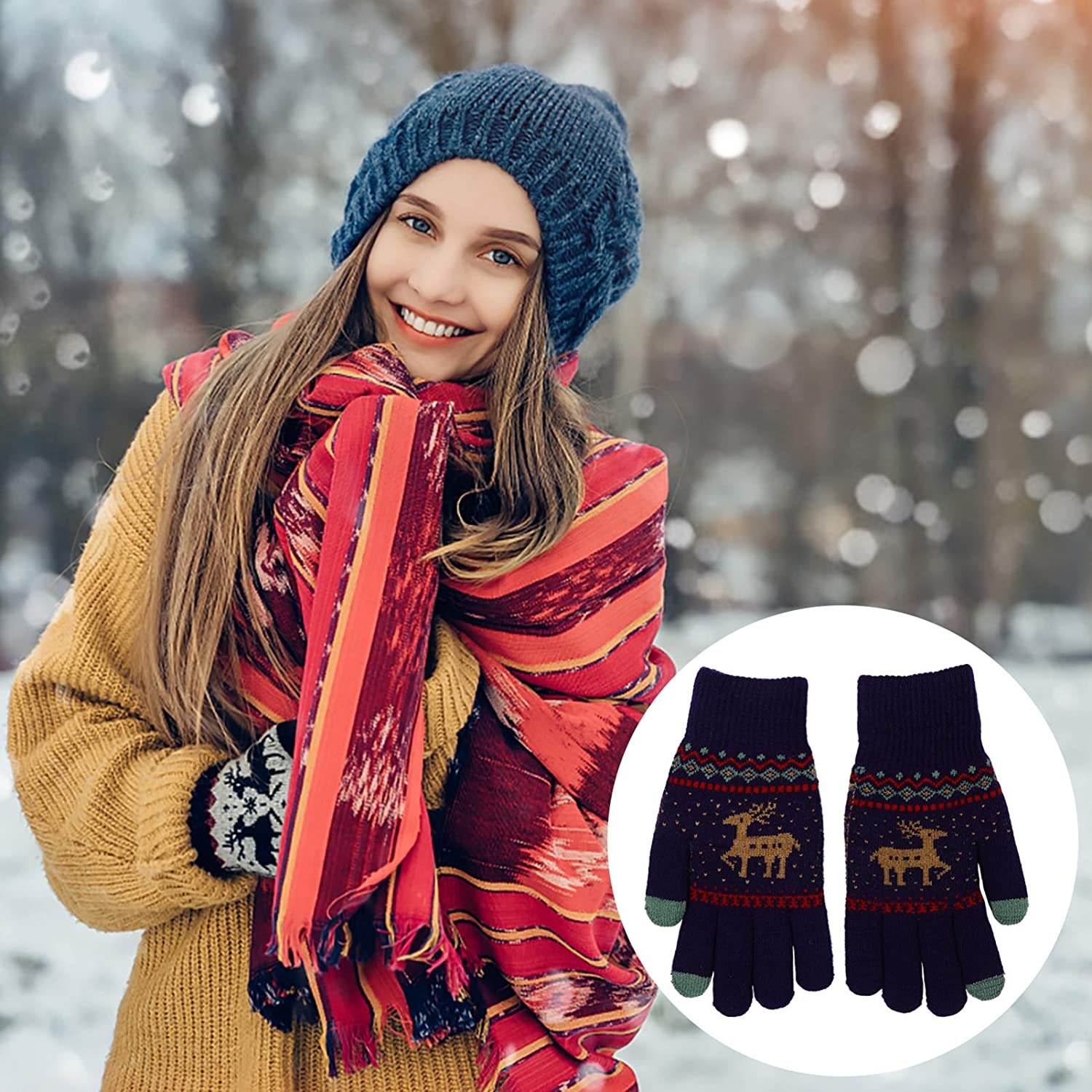 VALICLUD 4 Pairs Winter Knitted Gloves Elk Pattern Mittens Warm Thicken Windproof Touch Screen Full Finger Gloves for Unisex Winter Autumn