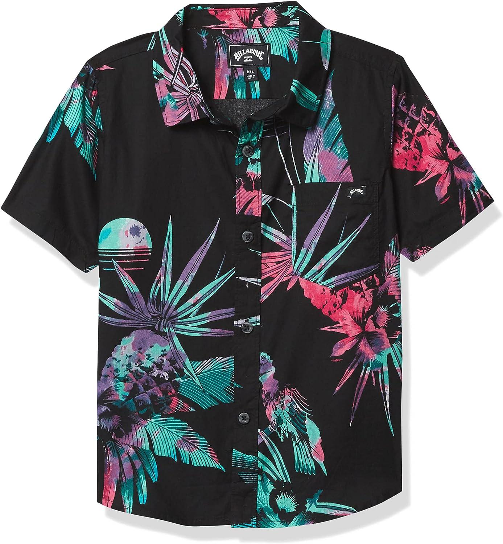 Billabong Boys' Sundays Floral Charlotte Mall Shirt Woven Cheap Sleeve Short