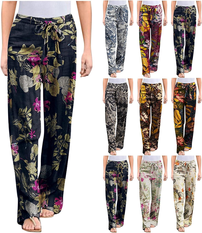 USYFAKGH Women's Wide Leg Pants Casual Palazzo Pants Harem Pants Plus Size Print Linen Pants Trousers with Pockets