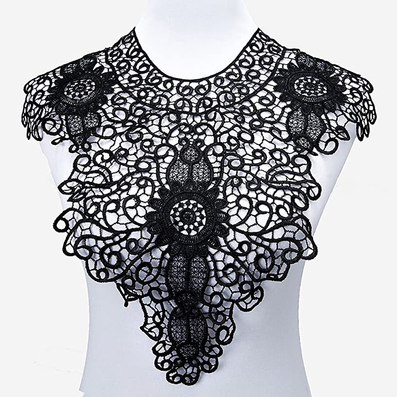 Lace Collar Applique Sewing On Patches Large Floral Embroidered Lace Neckline